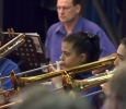 CNL Brass Trombones in concentration, with timpanist in background at Rhapsody in Brass Concert Sunday 13 October 2013