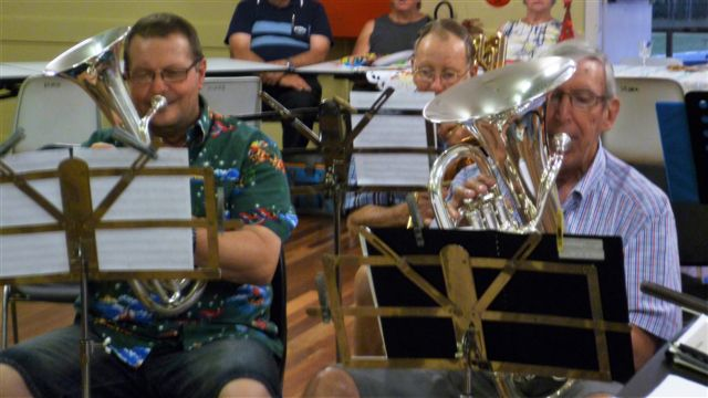 Andy, baritone, Arthur, trombone and Brendon, euphonium, playing Carols at the Christmas Function. 14 December 2016.