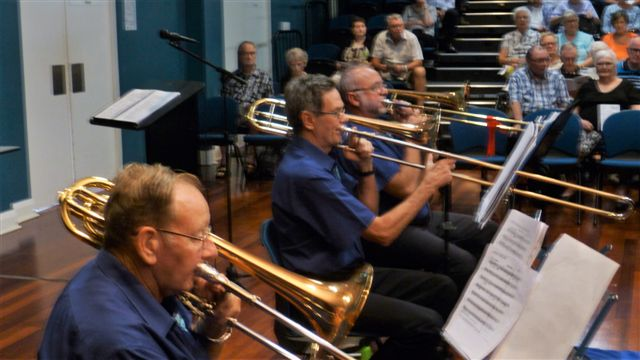 "Trombonists Arthur. Joe and Marcus ""slide into the rhythm"" at the Christmas in Brass Concert. 18 December 2016"