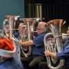 "Basses Phil, Dave and Christine ""on the beat"" at the Christmas in Brass Concert. 18 December 2016"